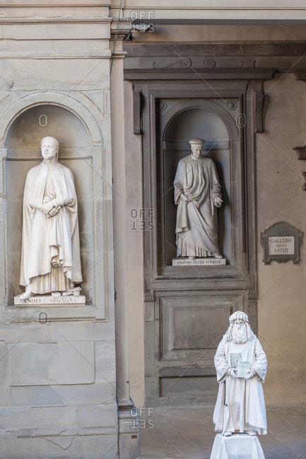December 14, 2020: Leonardo da Vinci street performer outside The Uffizi, Florence, Italy