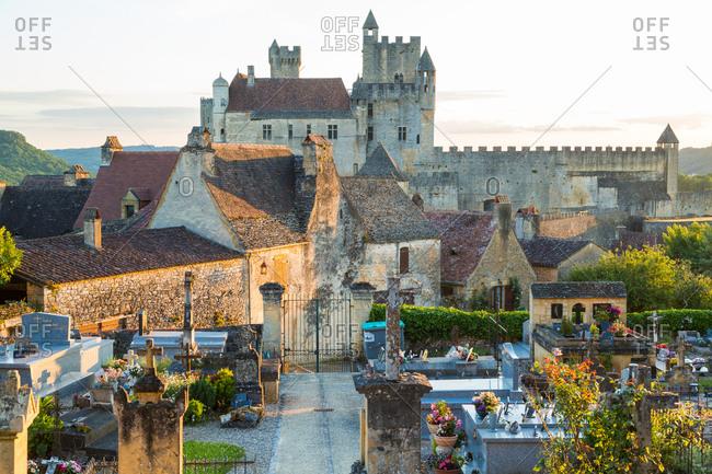 December 14, 2020: Beynac Chateau & graveyard, Beynac-et-Cazenac & Dordogne River, Beynac, Dordogne, France