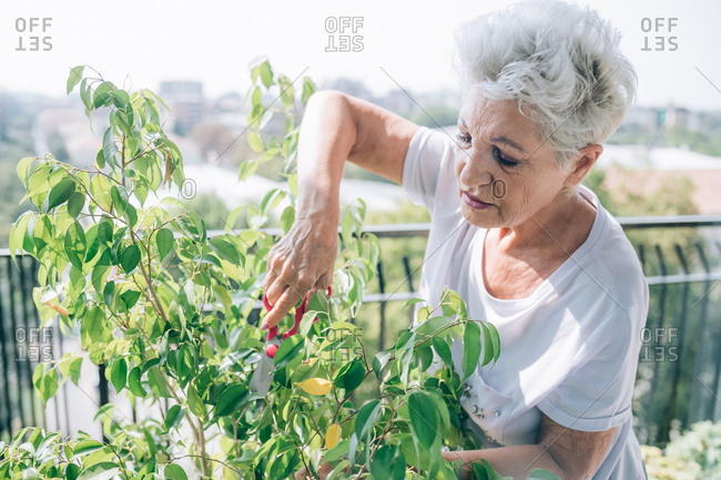 Woman gardening on her balcony