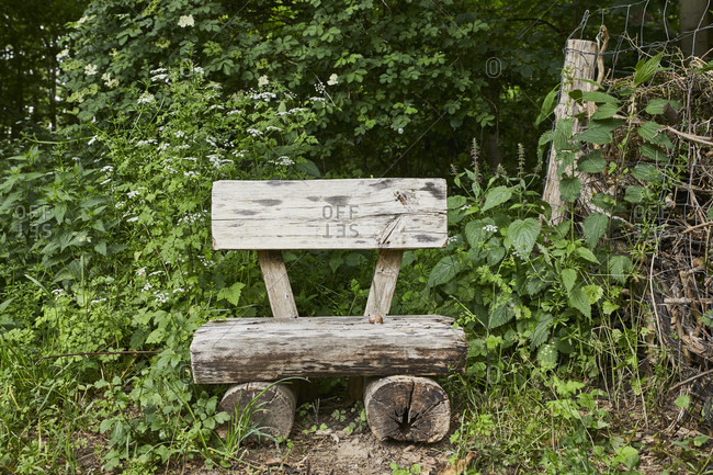 Wooden bench from the Offset Collection