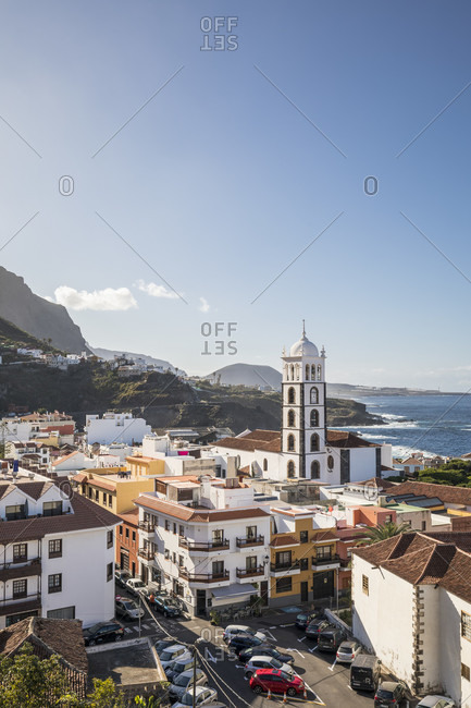 January 24, 2020: View over Garachico with the Santa Ana church, Tenerife, Canary Islands, Spain