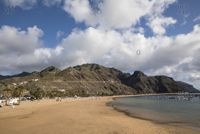 January 25, 2020: Playa de las Teresitas beach in front of the Anaga Mountains, San Andres, Tenerife, Canary Islands, Spain