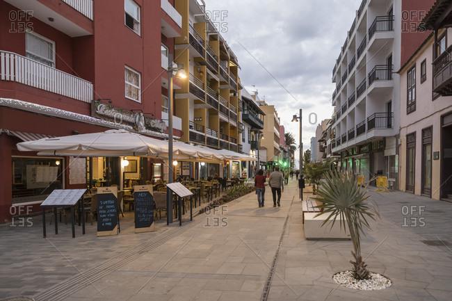 January 27, 2020: Restaurants in Calle San Juan in Puerto de la Cruz, Tenerife, Canary Islands, Spain