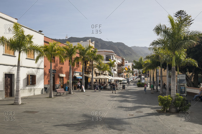January 29, 2020: The Plaza de los Remedios, behind the Teno Mountains, Buenavista del Norte, Tenerife, Canary Islands, Spain