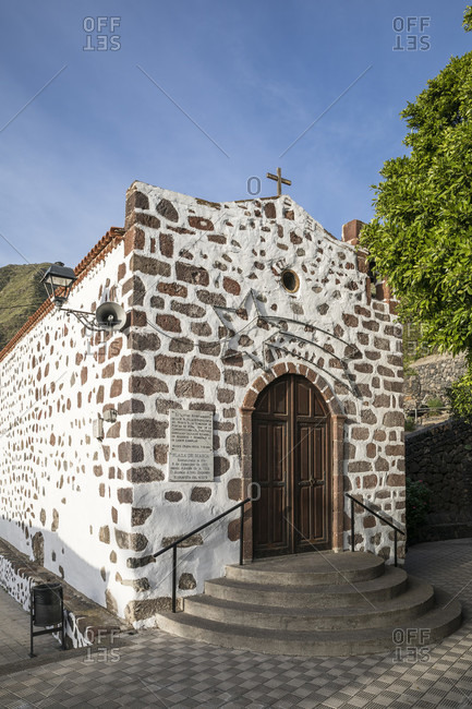January 29, 2020: The Ermita de la Inmaculada Concepcion church in the mountain village of Masca, Tenerife, Canary Islands, Spain