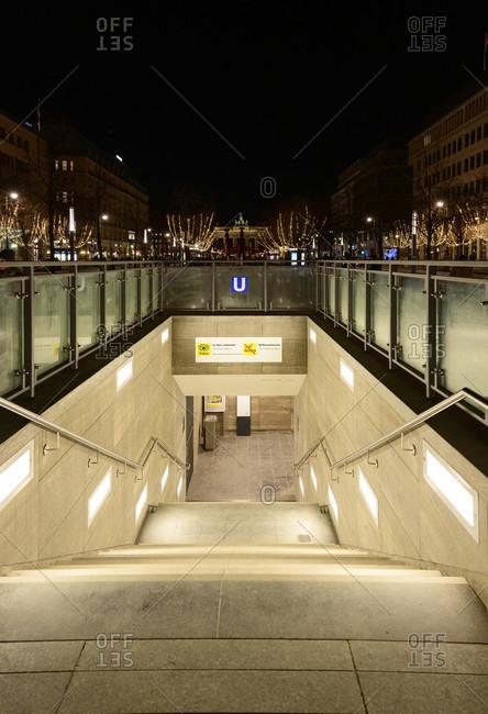 January 2, 2020: Germany, Berlin, subway station Brandenburger Tor.