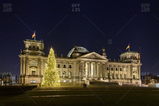 January 2, 2020: Germany, Berlin, Reichstag building with Christmas tree.