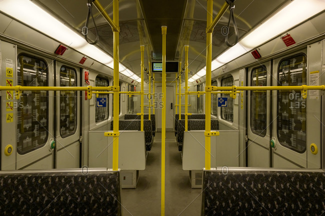 January 2, 2020: Germany, Berlin, subway cars without people.