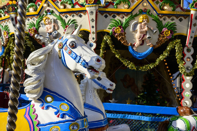 November 30, 2019: Germany, Rhineland-Palatinate, Landau, traditional children's carousel at the Christmas market.