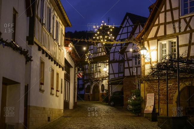 November 29, 2019: Germany, Rhineland-Palatinate, Southern Palatinate, Gleiszellen-Gleishorbach, Christmas decoration in the Gleiszellen district, the Winzergasse.