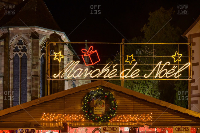 November 30, 2019: France, Alsace, Wissembourg, Christmas market in the evening