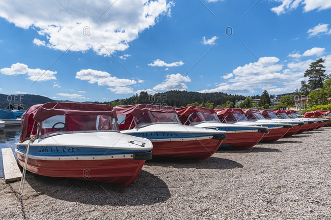 May 29, 2020: Classic motor boats on Lake Titisee, Titisee-Neustadt, Black Forest, Baden-Wurttemberg, Germany, Europe