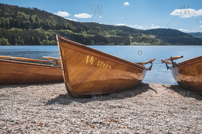 May 29, 2020: Classic rowing boat on Lake Titisee, Titisee-Neustadt, Black Forest, Baden-Wurttemberg, Germany, Europe