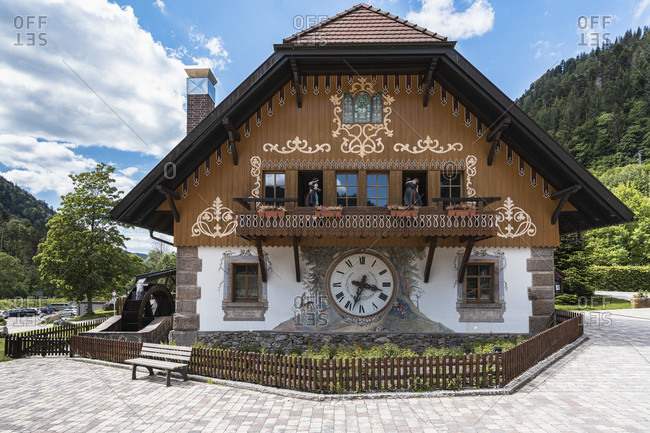 May 29, 2020: House with cuckoo clock, Black Forest, Hollental, Ravennaschlucht, Hofgut Sternen, Baden-Wurttemberg, Germany, Europe