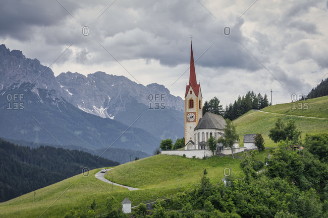 Parish church of Prato alla Drava-Winnebach in the municipality of  San Candido-Innichen, Val Pusteria-Pustertal, Bolzano, South Tyrol, Italy