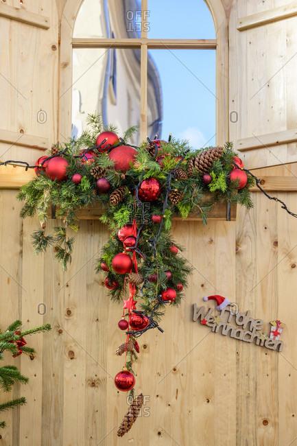 Germany, Rhineland-Palatinate, Landau, Christmas decorated window.