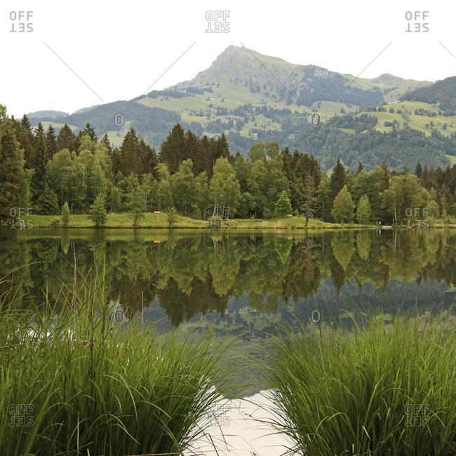 Reflections from the Kitzbuheler Horn in the Schwarzsee near Kitzbuhel in Tyrol