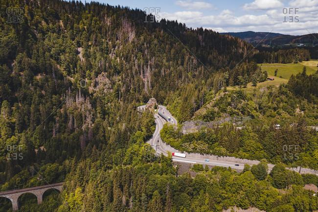 Black Forest, Hollental, Kreuzfelsenkurve, Viaduct, Ravennaschlucht, Baden-Wurttemberg, Germany, Europe