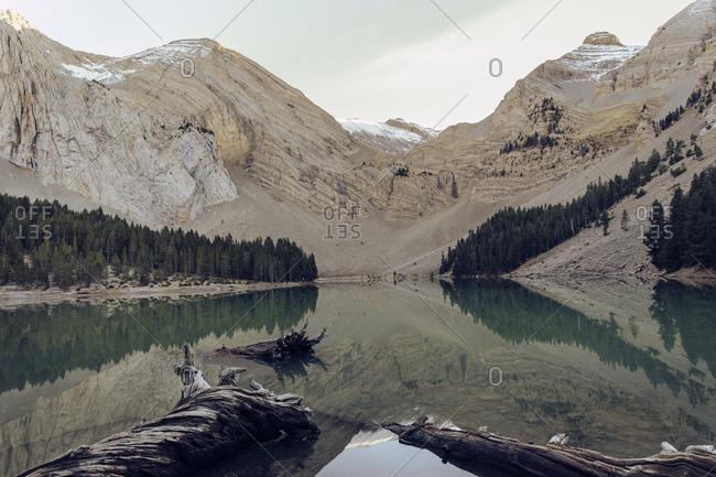 Lake in a mountain. Reflection. Plan, Huesca, Spain.