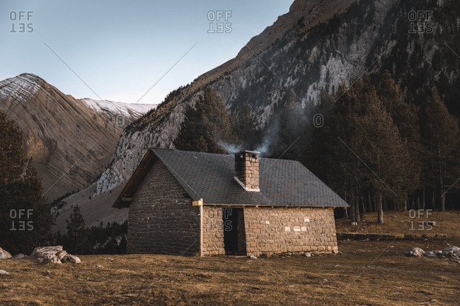 Shelter on top of a mountain in fall season