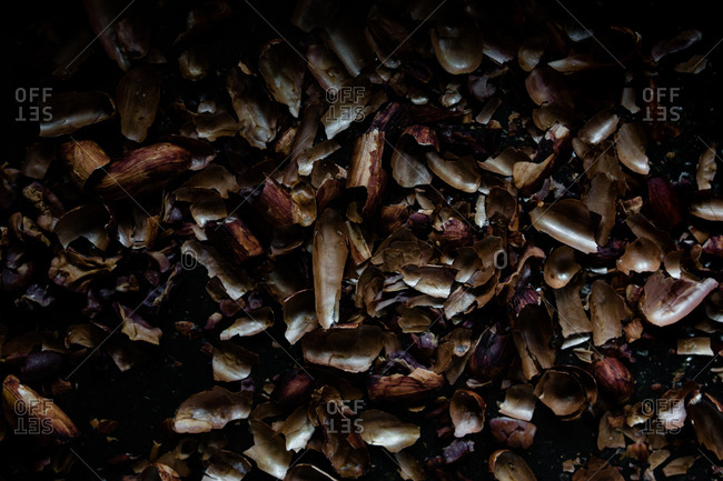 Cocoa shells after cocoa beans have been roasted and peeled