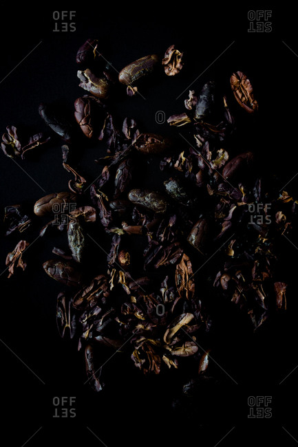 Roasted cocoa beans showing different colors of roasts and textures against a dark background