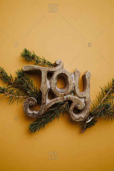 Joy sign on a yellow background with pine branches