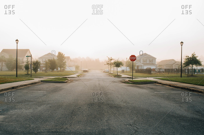 Widened street for parking in a residential neighborhood