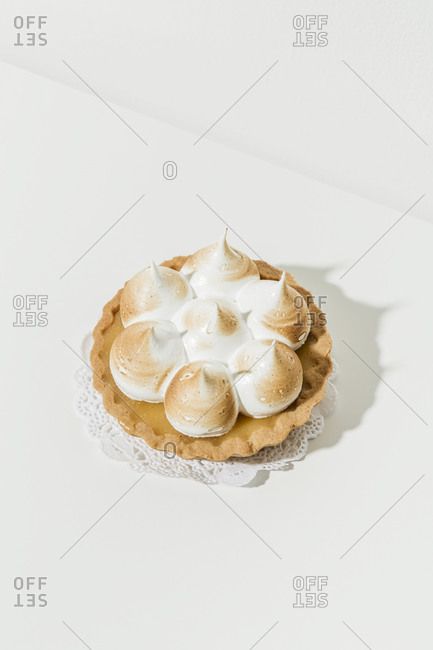 Overhead view of a whole miniature lemon tart
