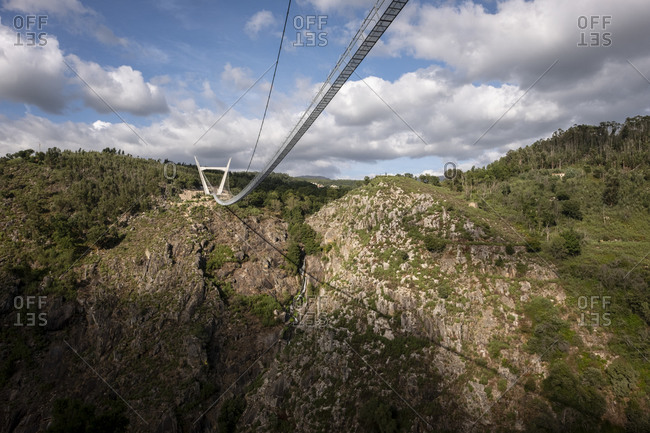 Suspension bridge crossing Rio Paiva, Arouca, Portugal