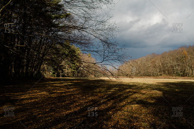 Cloudy skies over field and forest in the Mclean Game Refugee in Connecticut