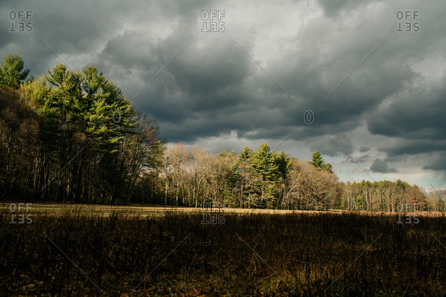 Stormy clouds over field and forest in the Mclean Game Refugee in Connecticut