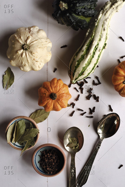 Food preparing with squash and cloves in autumn