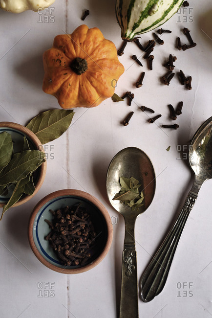 Food preparing with pumpkin, bay leaves and cloves in autumn