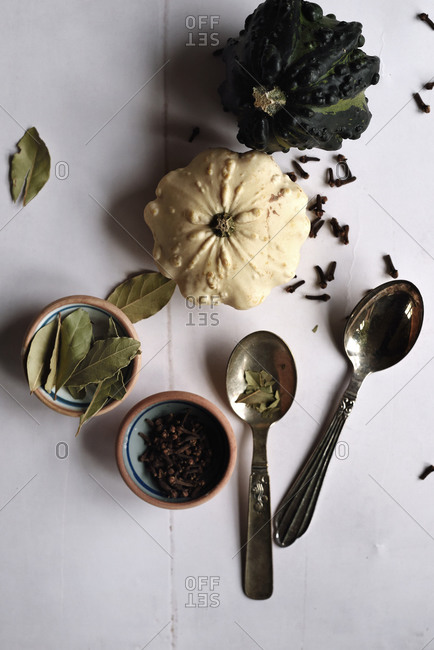Overhead view of food preparing with squash and cloves in autumn