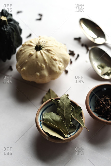 Gourds, bay leaves and cloves in autumn on white surface