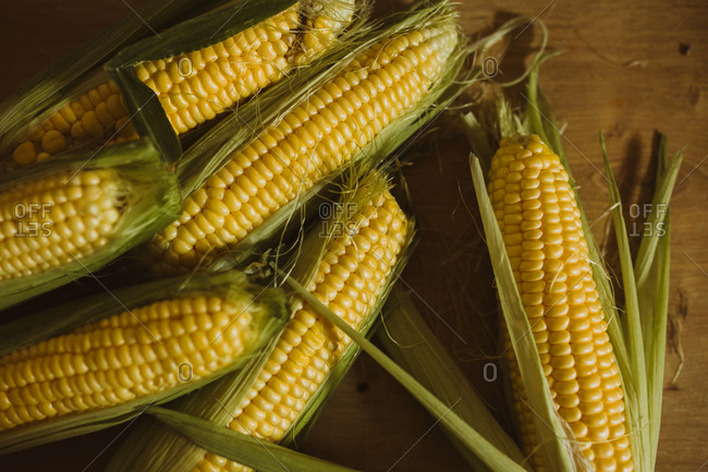 Fresh picked corn on wooden surface close up