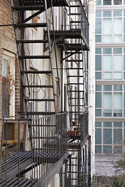 Fire escape on a building in New York City, New York