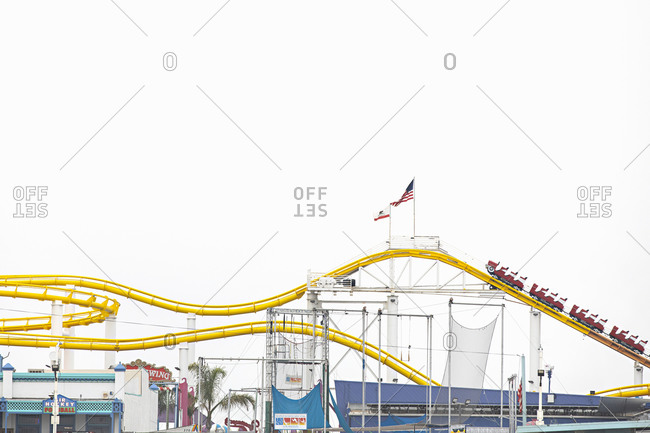 Santa Monica, California - July 22, 2020: Empty rollercoaster at the Santa Monica Pier during the Covid-19 pandemic
