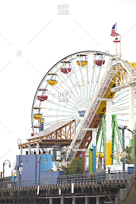 Santa Monica, California - July 22, 2020: Empty rides at the Santa Monica Pier during the Covid-19 pandemic
