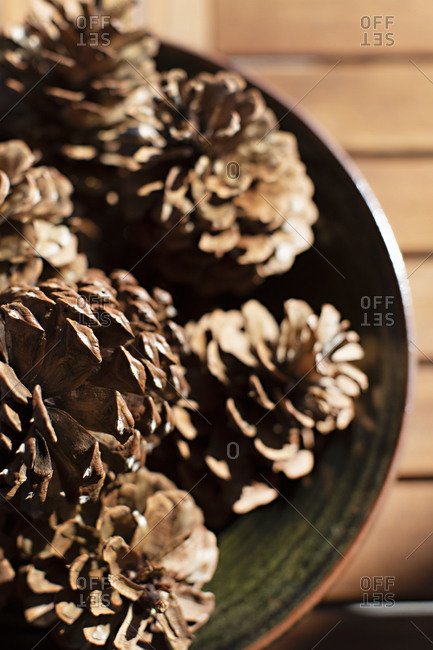 Close up of pinecones in a bowl