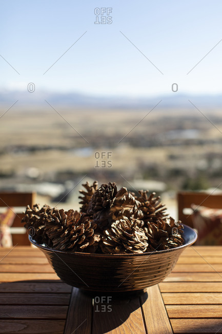 Pinecones in a bowl on an outdoor table