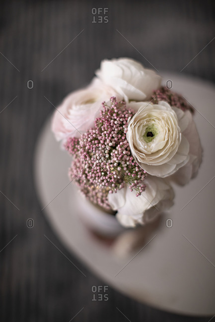 Overhead view of a beautiful white and pink floral arrangement