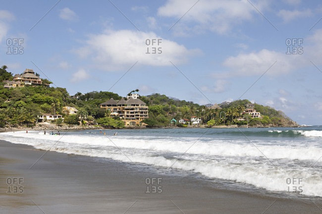 Beach and resorts on the coast of the Pacific Ocean in Sayulita, Nayarit, Mexico
