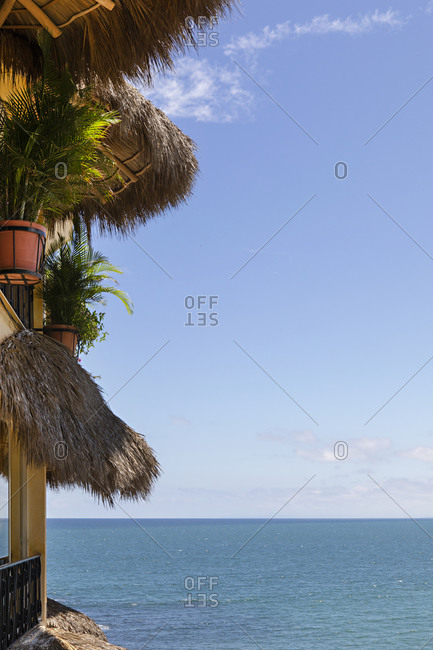 View of the Pacific Ocean from building on the coast of Sayulita, Nayarit, Mexico