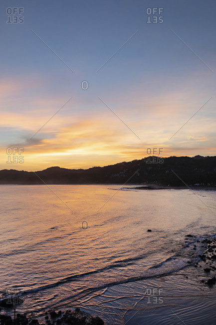 Sunset over the Pacific Ocean and coast of Sayulita, Nayarit, Mexico