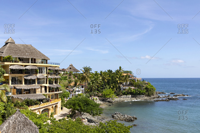 Sayulita, Nayarit, Mexico - June 17, 2018: Oceanfront resorts on the coast of the Pacific Ocean
