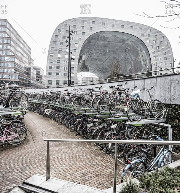 November 3, 2020: Netherlands, South Holland (Zuid-Holland), Rotterdam . A bicycle parking near the exterior of the Market Hall