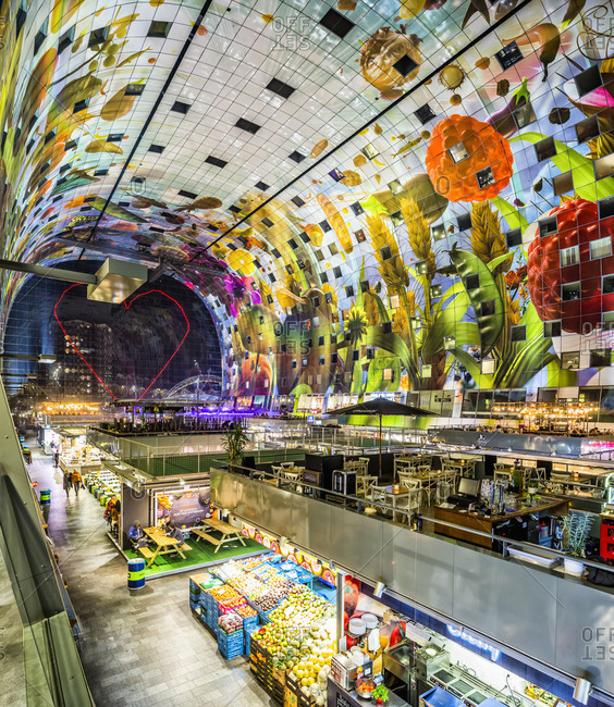 January 29, 2019: Netherlands, South Holland (Zuid-Holland), Rotterdam. The interior of the Market Hall, a residential and office building designed by MVRDV, a Dutch architects studio.