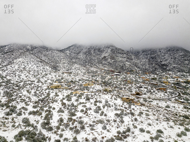 Houses at the Sandia Mountains in New Mexico